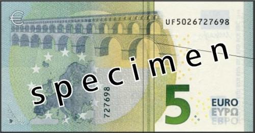 Neuer 5 Euro Schein hinten