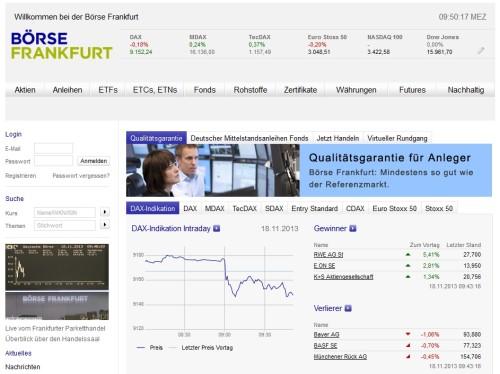 Die Webseite der Börse Frankfurt
