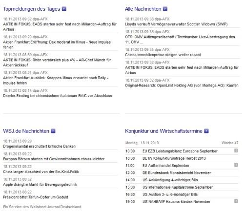 Nachrichten Börse Frankfurt Webseite