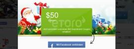 50 Euro von eToro als Weihnachtsgeld für Trading