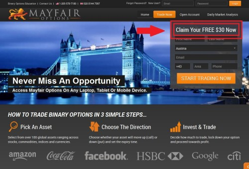 Seite vom Binary Broker Mayfair Options mit 30 Euro Gratis