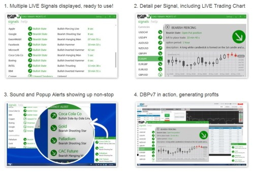 Daily Binary Profit mit Live Trading Chart