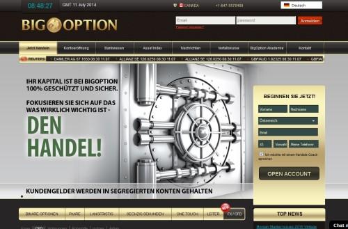 Seite vom Broker BigOption