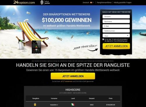 Trading Wettbewerb für Binäroptionen bei 24option