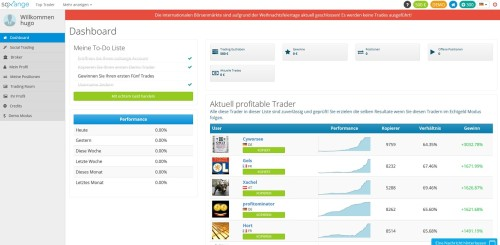 Dashboard in SoXange Social Trading