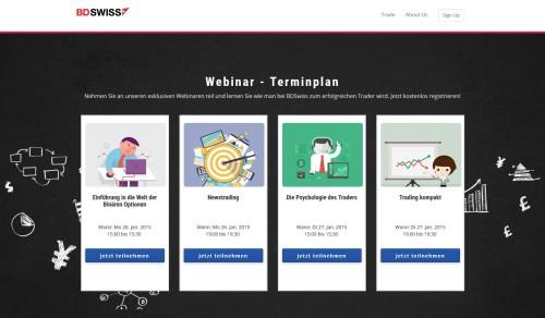 Neuer Bereich mit Webinare beim Broker BDSwiss