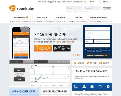 Die neue Seite vom Binary Broker Zoomtrader