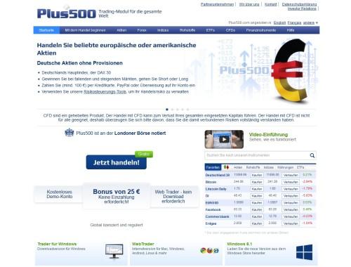 Seite von Plus500 für CFD-Handel