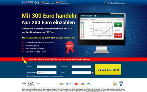 Broker TopOption bietet 100 Euro Bonus