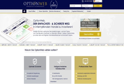 Broker OptionWeb für binäre Optionen