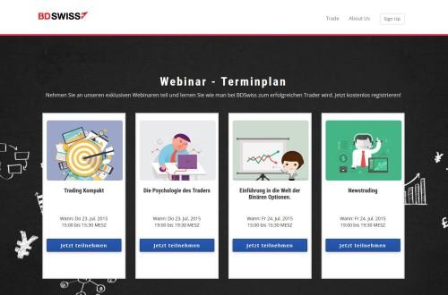 Seite mit den kostenlosen binäre Optionen Webinaren bei BDSwiss