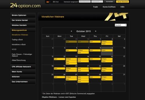 Übersicht aktuelle Webinare bei 24option