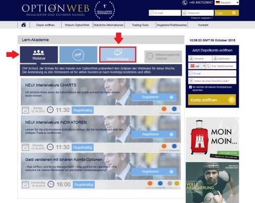 Übersicht aktuelle Webinare bei OptionWeb