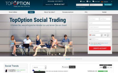 Neue Seite und neue Handelsplattform für binäre Optionen bei TopOption