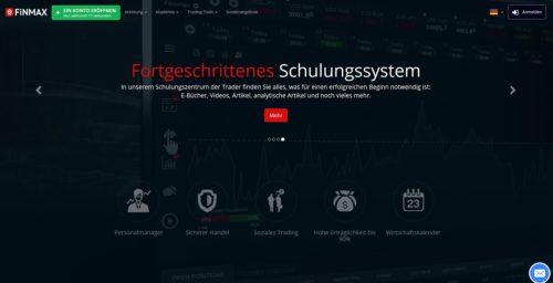 Übersicht der Seite vom Binary Broker Finmax für binäre Optionen