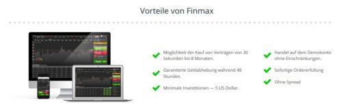 Vorteile beim Binary Broker Finmax für binäre Optionen