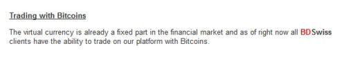 Benachrichtigung von BDSwiss über Bitcoin Trading Möglichkeit