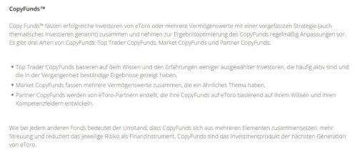 Informationen über CopyFunds beim Broker eToro