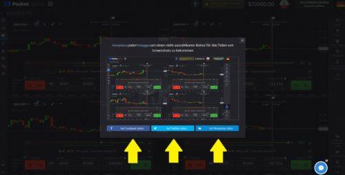 Bildschirmaufnahme vom eigenen Trading teilen und Bonus bei PocketOption erhalten