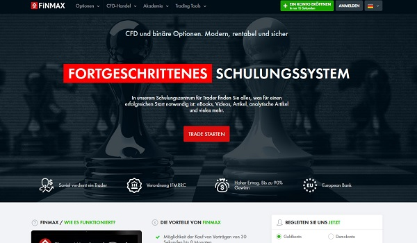 Binary Option Trading bei Broker Finmax